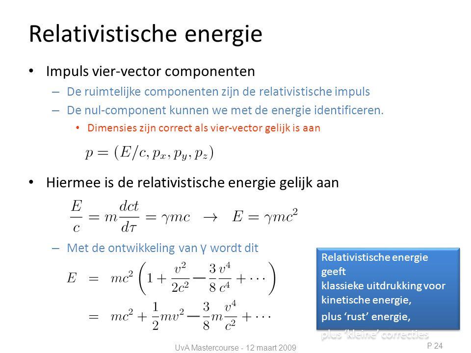 Relativistische energie • Impuls vier-vector componenten – De ruimtelijke componenten zijn de relativistische impuls – De nul-component kunnen we met de energie identificeren.