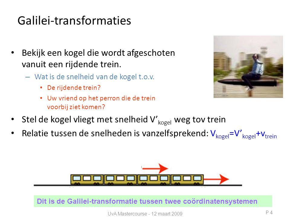 Galilei-transformaties • Bekijk een kogel die wordt afgeschoten vanuit een rijdende trein.
