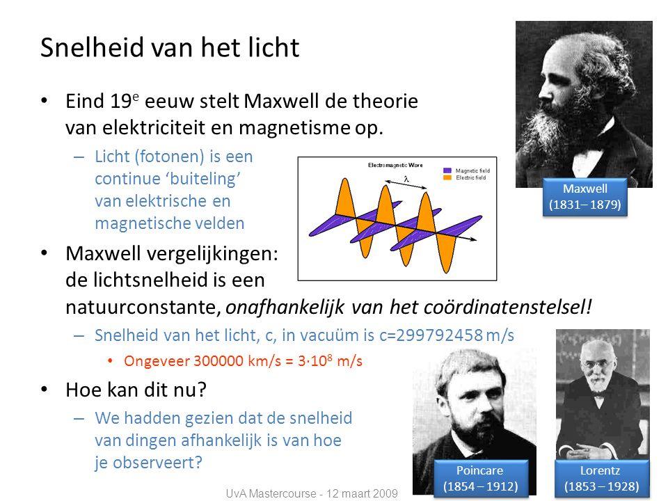 Snelheid van het licht • Eind 19 e eeuw stelt Maxwell de theorie van elektriciteit en magnetisme op.