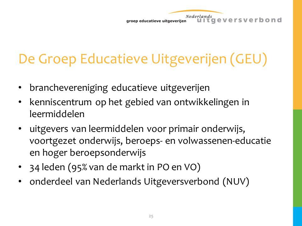 25 De Groep Educatieve Uitgeverijen (GEU) • branchevereniging educatieve uitgeverijen • kenniscentrum op het gebied van ontwikkelingen in leermiddelen