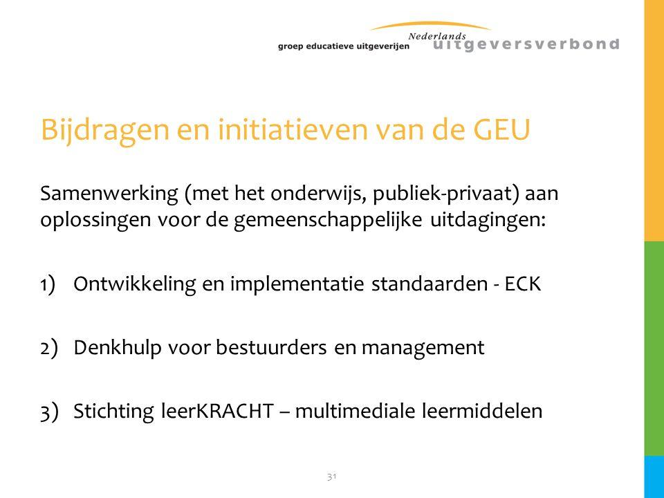 31 Bijdragen en initiatieven van de GEU Samenwerking (met het onderwijs, publiek-privaat) aan oplossingen voor de gemeenschappelijke uitdagingen: 1)On