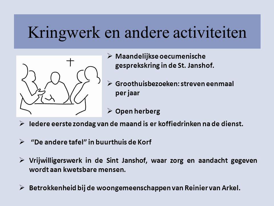 Kringwerk en andere activiteiten  Maandelijkse oecumenische gesprekskring in de St. Janshof.  Groothuisbezoeken: streven eenmaal per jaar  Open her