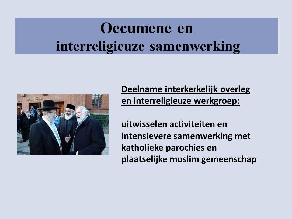 Oecumene en interreligieuze samenwerking Deelname interkerkelijk overleg en interreligieuze werkgroep: uitwisselen activiteiten en intensievere samenw