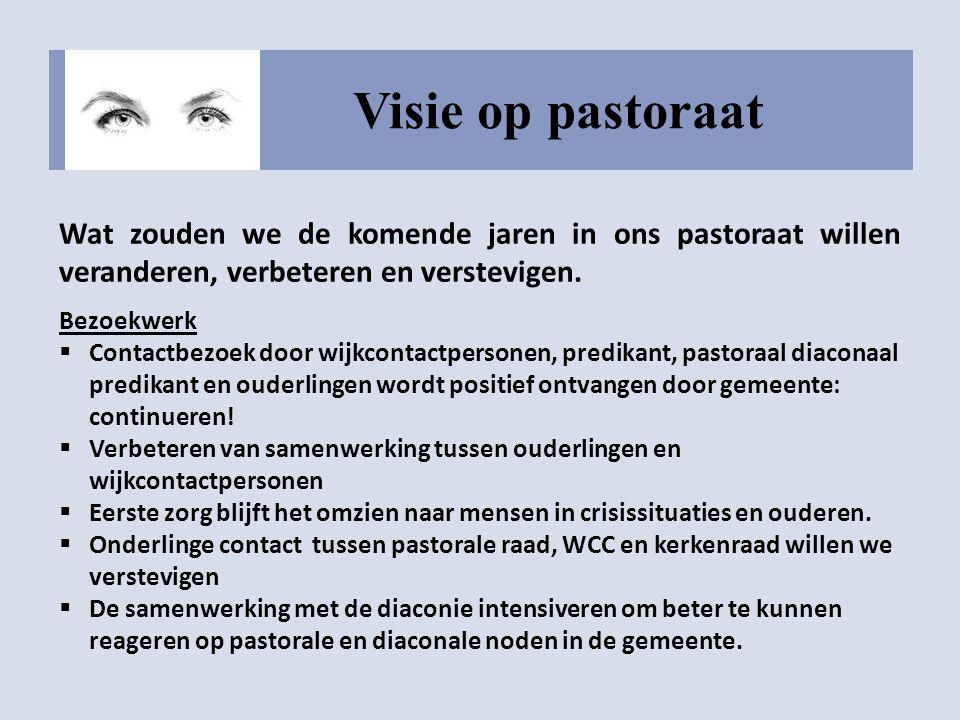 Visie op pastoraat Wat zouden we de komende jaren in ons pastoraat willen veranderen, verbeteren en verstevigen. Bezoekwerk  Contactbezoek door wijkc
