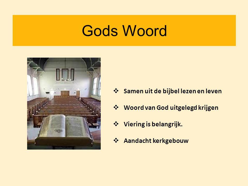 Gods Woord  Samen uit de bijbel lezen en leven  Woord van God uitgelegd krijgen  Viering is belangrijk.  Aandacht kerkgebouw