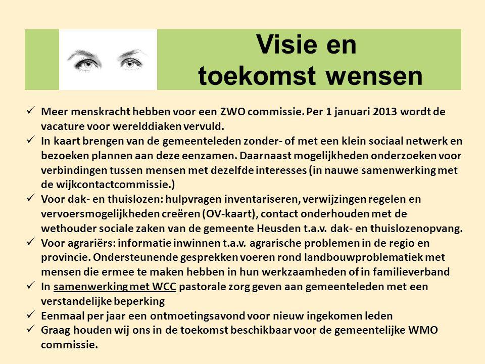 Visie en toekomst wensen  Meer menskracht hebben voor een ZWO commissie. Per 1 januari 2013 wordt de vacature voor werelddiaken vervuld.  In kaart b