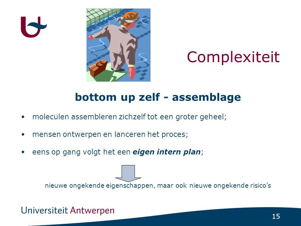 15 Complexiteit bottom up zelf - assemblage •moleculen assembleren zichzelf tot een groter geheel; •mensen ontwerpen en lanceren het proces; •eens op gang volgt het een eigen intern plan; nieuwe ongekende eigenschappen, maar ook nieuwe ongekende risico's