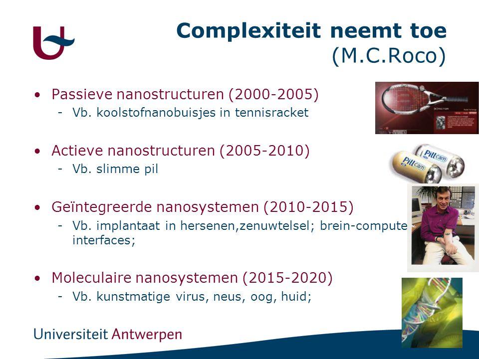 18 Complexiteit neemt toe (M.C.Roco) •Passieve nanostructuren (2000-2005) -Vb.