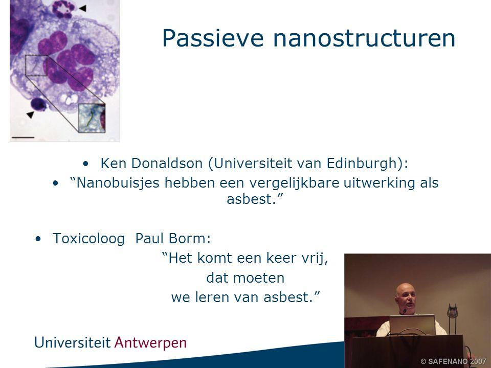20 Passieve nanostructuren •Ken Donaldson (Universiteit van Edinburgh): • Nanobuisjes hebben een vergelijkbare uitwerking als asbest. •Toxicoloog Paul Borm: Het komt een keer vrij, dat moeten we leren van asbest.
