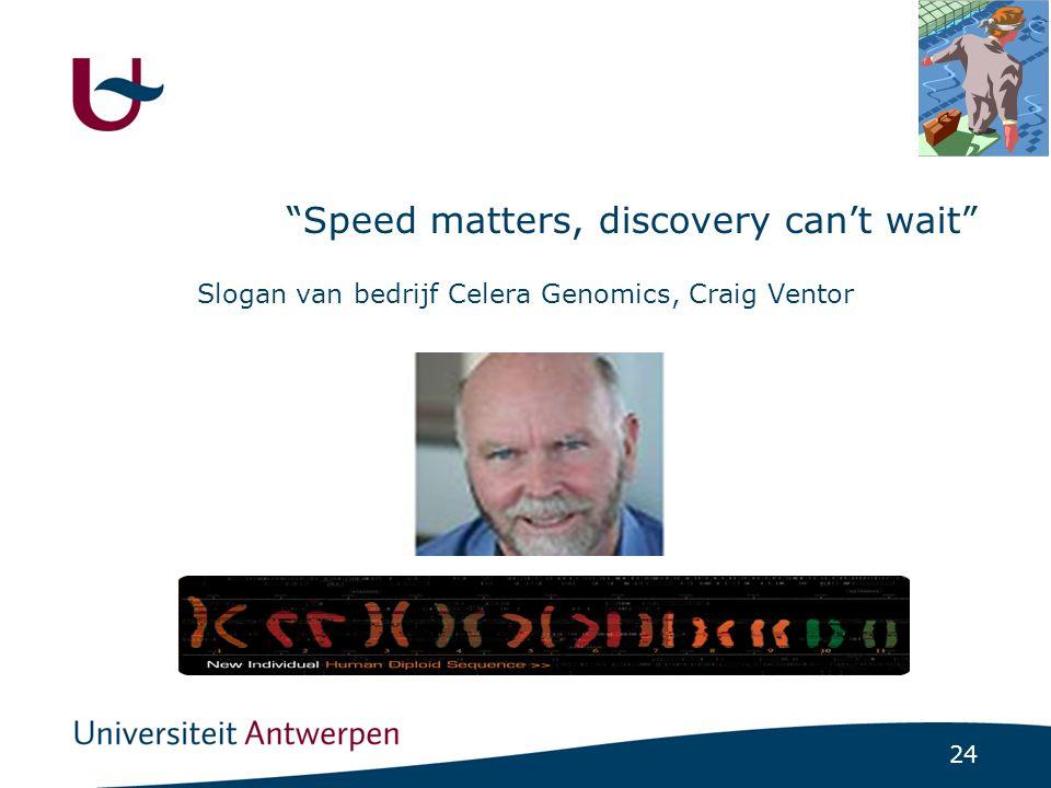 24 Speed matters, discovery can't wait Slogan van bedrijf Celera Genomics, Craig Ventor