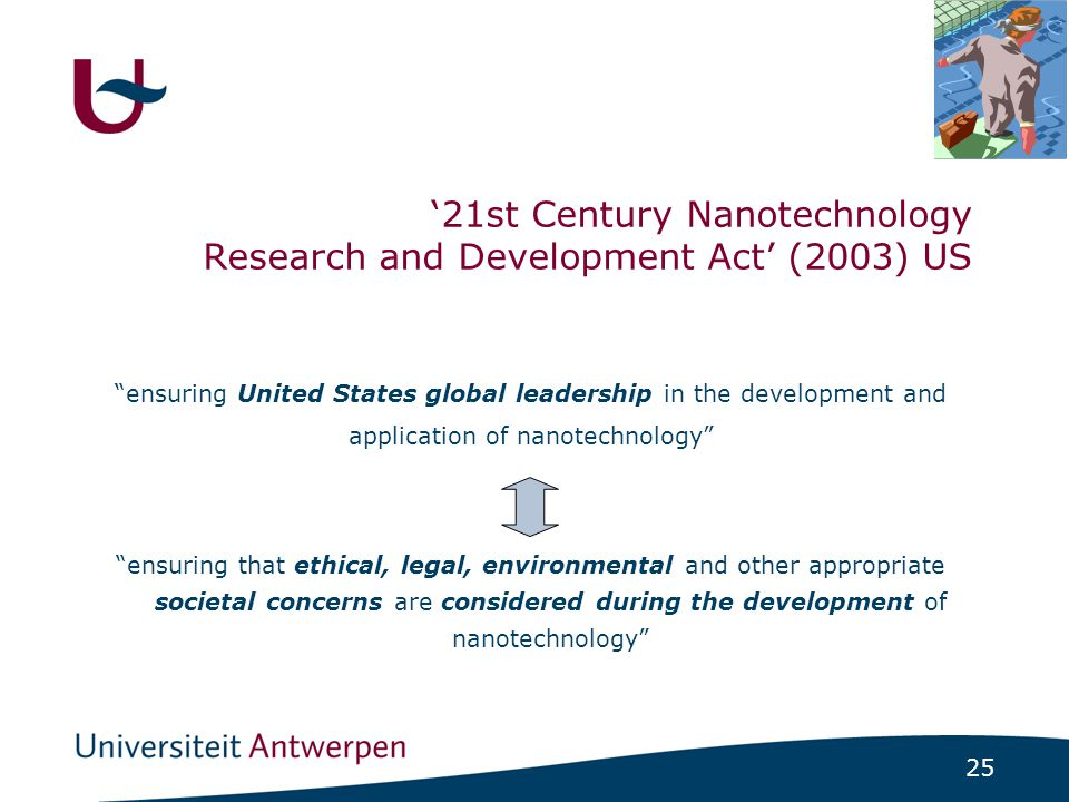 "25 ""ensuring United States global leadership in the development and application of nanotechnology"" ""ensuring that ethical, legal, environmental and ot"