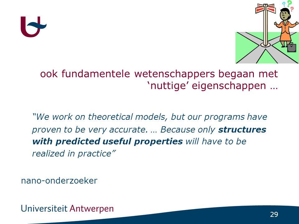 29 ook fundamentele wetenschappers begaan met 'nuttige' eigenschappen … We work on theoretical models, but our programs have proven to be very accurate.