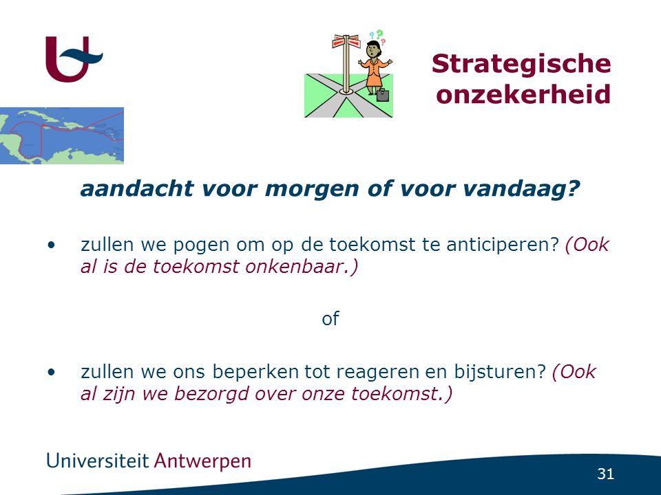 31 Strategische onzekerheid aandacht voor morgen of voor vandaag.
