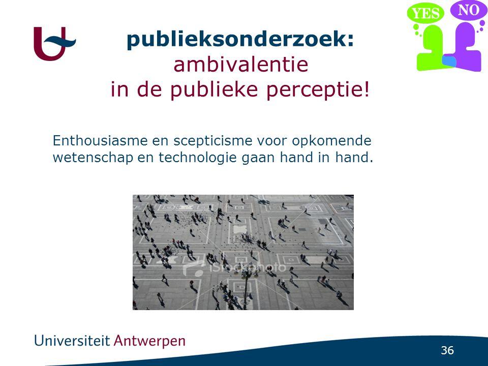 36 publieksonderzoek: ambivalentie in de publieke perceptie.