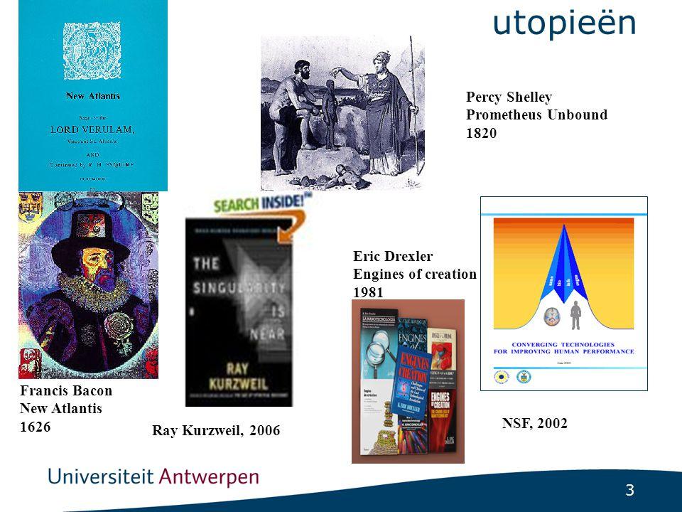 3 utopieën Francis Bacon New Atlantis 1626 Percy Shelley Prometheus Unbound 1820 Eric Drexler Engines of creation 1981 NSF, 2002 Ray Kurzweil, 2006