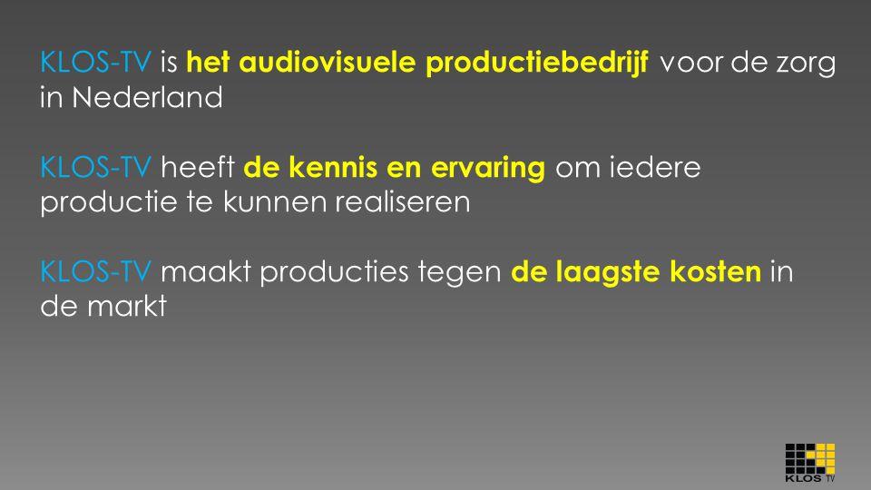 KLOS-TV is het audiovisuele productiebedrijf voor de zorg in Nederland KLOS-TV heeft de kennis en ervaring om iedere productie te kunnen realiseren KL