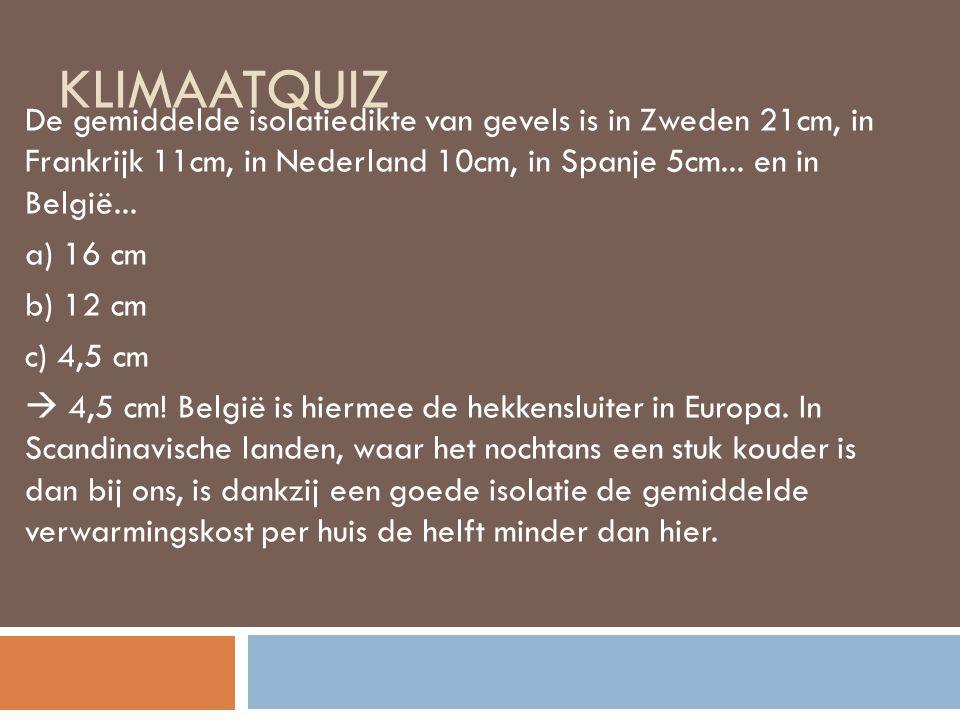 KLIMAATQUIZ De gemiddelde isolatiedikte van gevels is in Zweden 21cm, in Frankrijk 11cm, in Nederland 10cm, in Spanje 5cm...