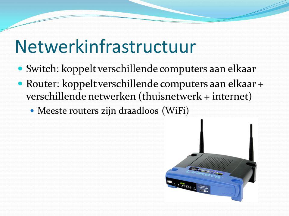 Netwerkinfrastructuur  Switch: koppelt verschillende computers aan elkaar  Router: koppelt verschillende computers aan elkaar + verschillende netwer