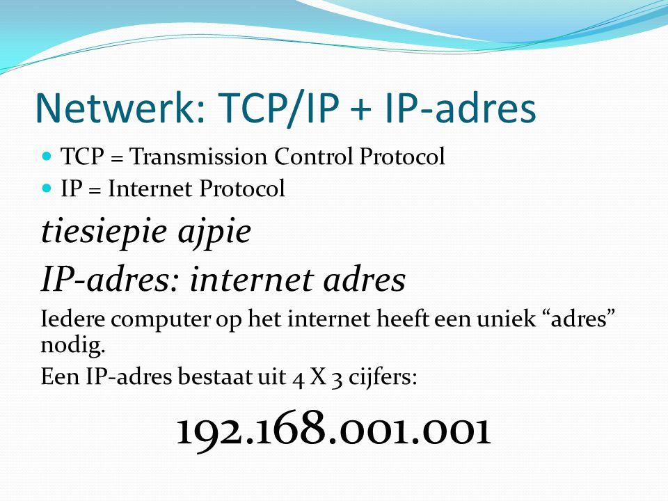 Netwerk: TCP/IP + IP-adres  TCP = Transmission Control Protocol  IP = Internet Protocol tiesiepie ajpie IP-adres: internet adres Iedere computer op