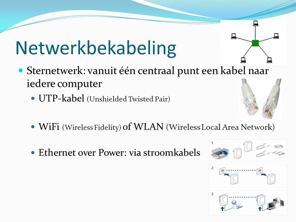 Netwerkbekabeling  Sternetwerk: vanuit één centraal punt een kabel naar iedere computer  UTP-kabel (Unshielded Twisted Pair)  WiFi (Wireless Fideli