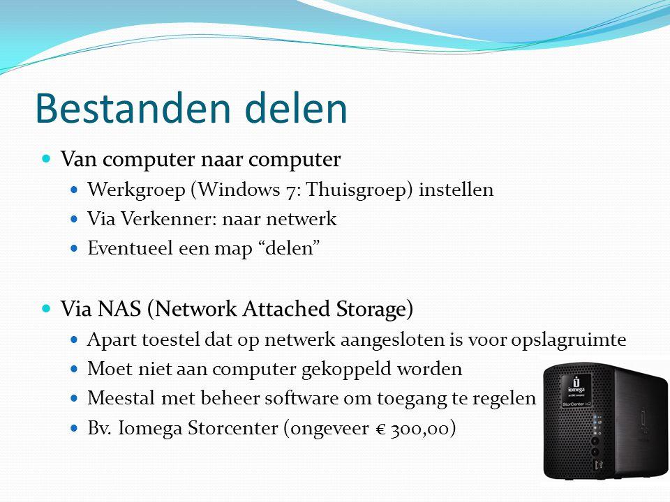 """Bestanden delen  Van computer naar computer  Werkgroep (Windows 7: Thuisgroep) instellen  Via Verkenner: naar netwerk  Eventueel een map """"delen"""" """