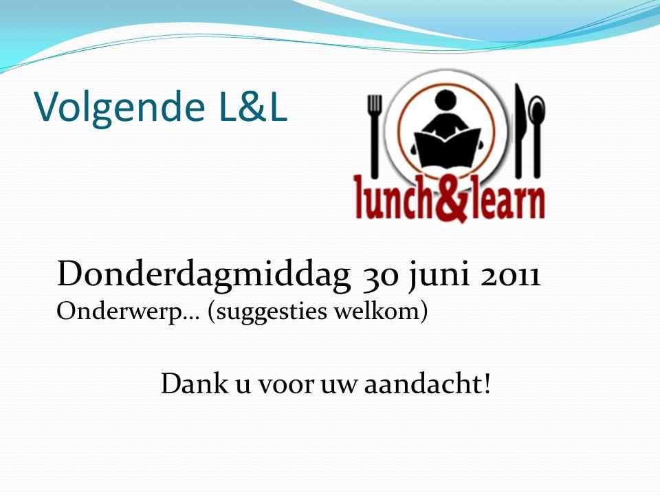 Volgende L&L Donderdagmiddag 30 juni 2011 Onderwerp… (suggesties welkom) Dank u voor uw aandacht!