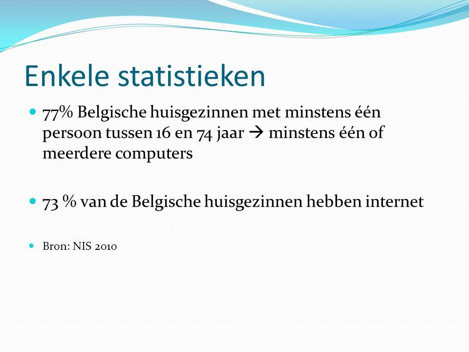 Enkele statistieken  77% Belgische huisgezinnen met minstens één persoon tussen 16 en 74 jaar  minstens één of meerdere computers  73 % van de Belg