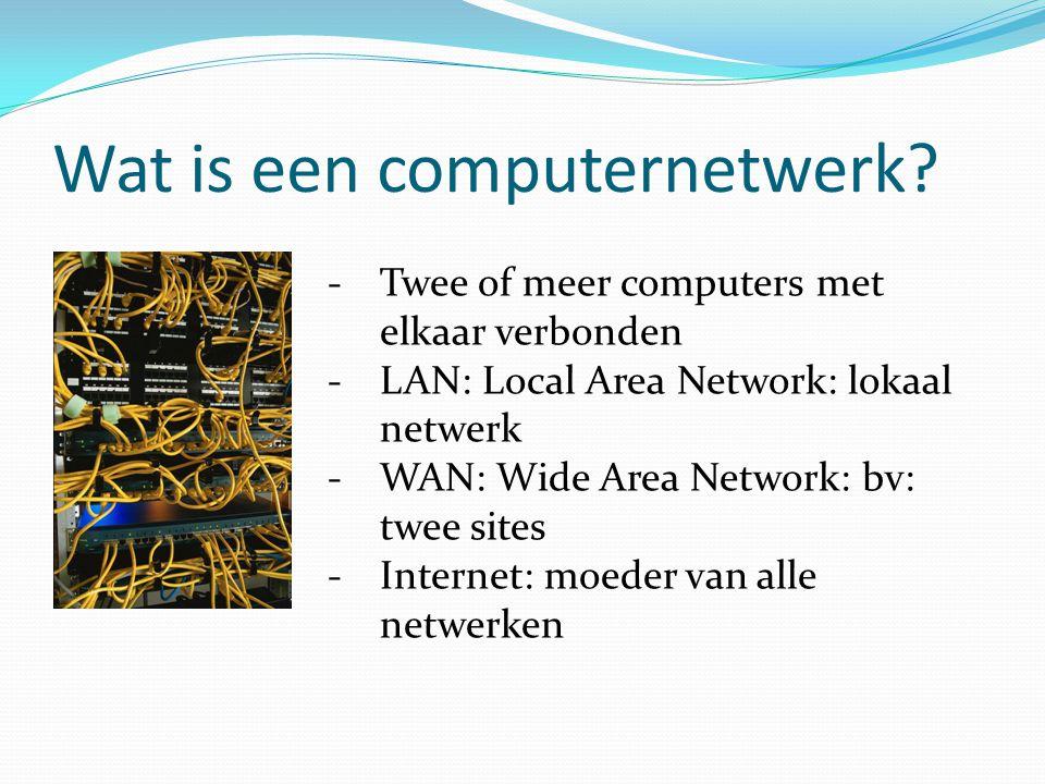 Wat is een computernetwerk? -Twee of meer computers met elkaar verbonden -LAN: Local Area Network: lokaal netwerk -WAN: Wide Area Network: bv: twee si