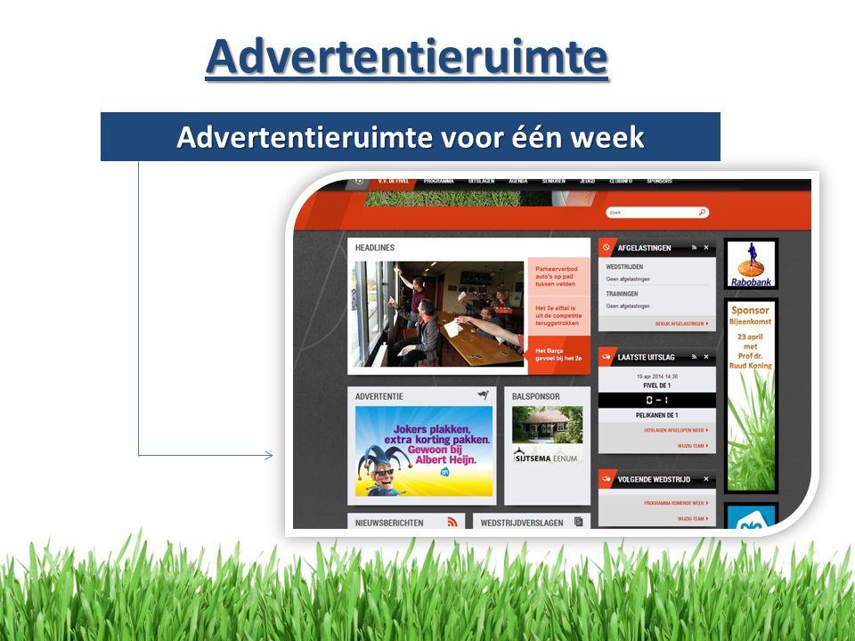 Advertentieruimte Advertentieruimte voor één week