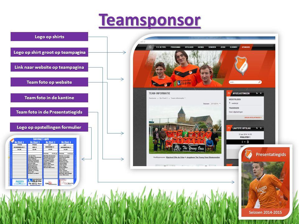 Teamsponsor Logo op shirts Logo op shirt groot op teampagina Link naar website op teampagina Team foto op website Team foto in de kantine Team foto in