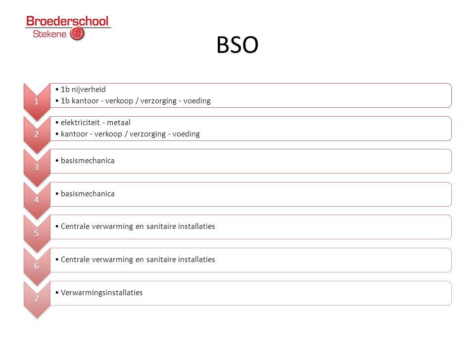 BSO 1 •1b nijverheid •1b kantoor - verkoop / verzorging - voeding 2 •elektriciteit - metaal •kantoor - verkoop / verzorging - voeding 3 •basismechanic