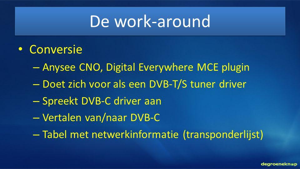 De work-around • Conversie – Anysee CNO, Digital Everywhere MCE plugin – Doet zich voor als een DVB-T/S tuner driver – Spreekt DVB-C driver aan – Vert