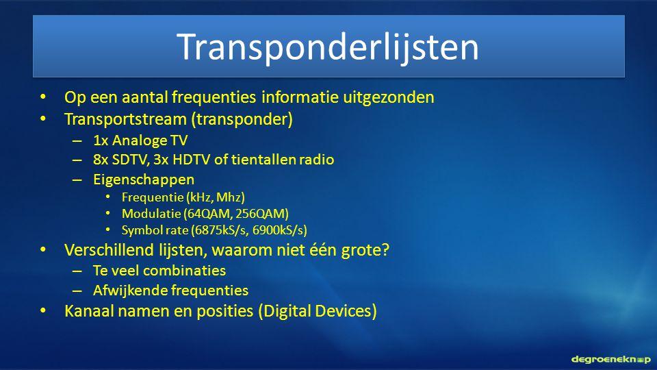 Transponderlijsten • Op een aantal frequenties informatie uitgezonden • Transportstream (transponder) – 1x Analoge TV – 8x SDTV, 3x HDTV of tientallen