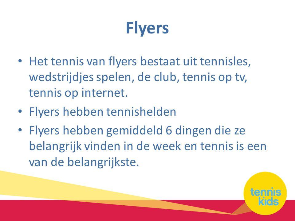 Flyers • Het tennis van flyers bestaat uit tennisles, wedstrijdjes spelen, de club, tennis op tv, tennis op internet.