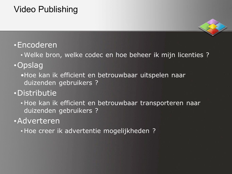Video Publishing • Encoderen • Welke bron, welke codec en hoe beheer ik mijn licenties .