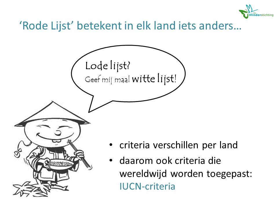 • criteria verschillen per land • daarom ook criteria die wereldwijd worden toegepast: IUCN-criteria Lode lijst.