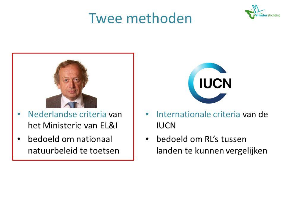 Twee methoden • Nederlandse criteria van het Ministerie van EL&I • bedoeld om nationaal natuurbeleid te toetsen • Internationale criteria van de IUCN • bedoeld om RL's tussen landen te kunnen vergelijken