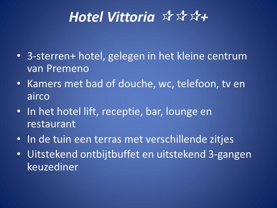 Hotel Vittoria  + • 3-sterren+ hotel, gelegen in het kleine centrum van Premeno • Kamers met bad of douche, wc, telefoon, tv en airco • In het hote