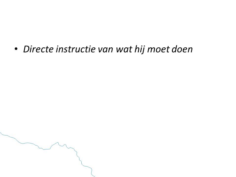 • Directe instructie van wat hij moet doen