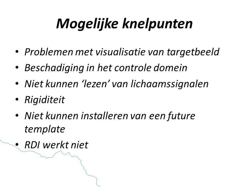 Mogelijke knelpunten • Problemen met visualisatie van targetbeeld • Beschadiging in het controle domein • Niet kunnen 'lezen' van lichaamssignalen • Rigiditeit • Niet kunnen installeren van een future template • RDI werkt niet
