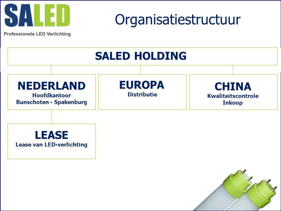 Organisatiestructuur SALED HOLDING EUROPA Distributie NEDERLAND Hoofdkantoor Bunschoten - Spakenburg CHINA Kwaliteitscontrole Inkoop LEASE Lease van L
