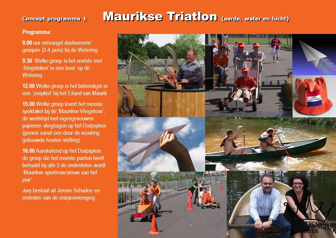 Concept programma 1 Maurikse Triatlon (aarde, water en lucht) Programma: 9.00 uur ontvangst deelnemers/ groepen (2-4 pers) bij de Wetering 9.30 Welke