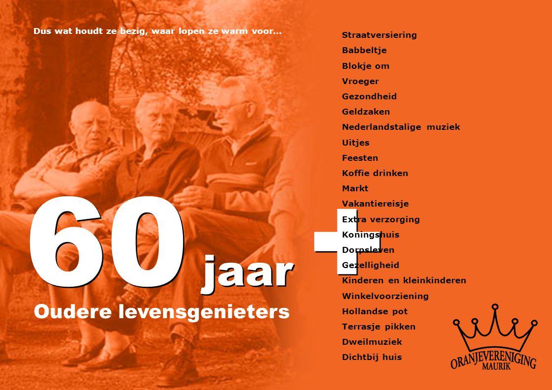 60 jaar + Oudere levensgenieters Dus wat houdt ze bezig, waar lopen ze warm voor… Straatversiering Babbeltje Blokje om Vroeger Gezondheid Geldzaken Ne