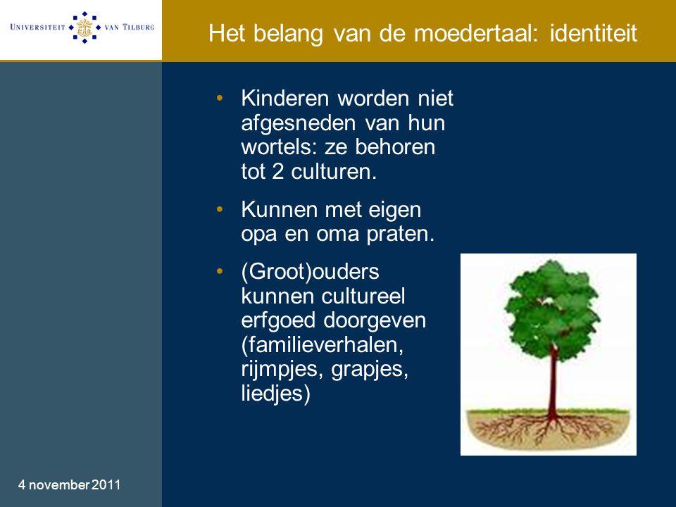 Het belang van de moedertaal: identiteit 4 november 2011 •Kinderen worden niet afgesneden van hun wortels: ze behoren tot 2 culturen.