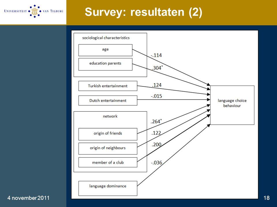 Survey: resultaten (2) 4 november 201118