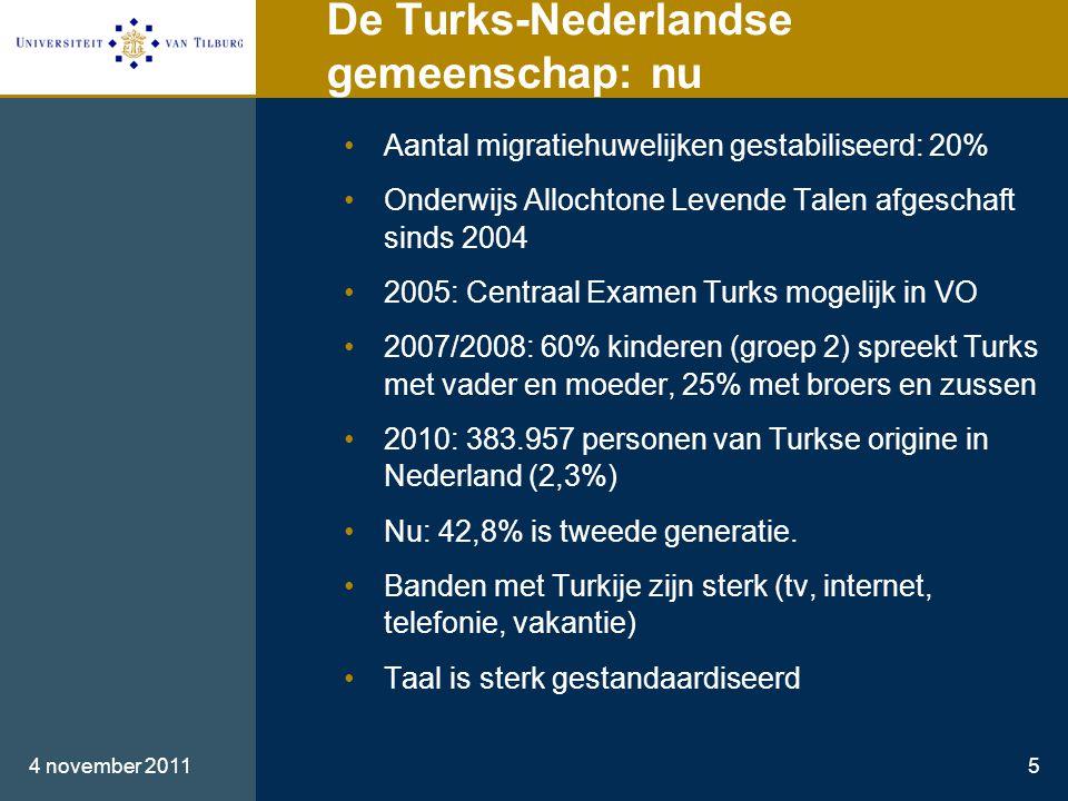 De Turks-Nederlandse gemeenschap: nu •Aantal migratiehuwelijken gestabiliseerd: 20% •Onderwijs Allochtone Levende Talen afgeschaft sinds 2004 •2005: Centraal Examen Turks mogelijk in VO •2007/2008: 60% kinderen (groep 2) spreekt Turks met vader en moeder, 25% met broers en zussen •2010: 383.957 personen van Turkse origine in Nederland (2,3%) •Nu: 42,8% is tweede generatie.