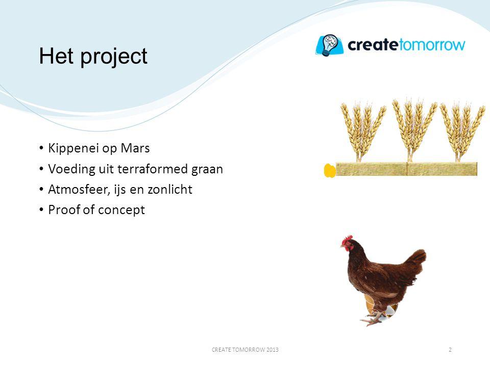 Het project • Kippenei op Mars • Voeding uit terraformed graan • Atmosfeer, ijs en zonlicht • Proof of concept CREATE TOMORROW 20132