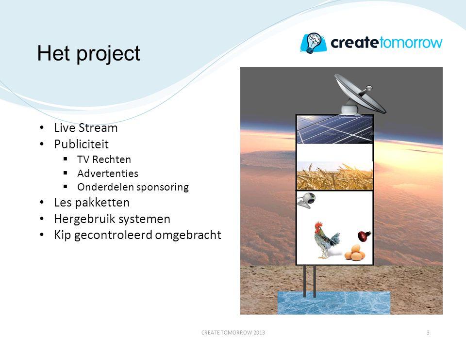 Het project CREATE TOMORROW 20133 • Live Stream • Publiciteit  TV Rechten  Advertenties  Onderdelen sponsoring • Les pakketten • Hergebruik systeme
