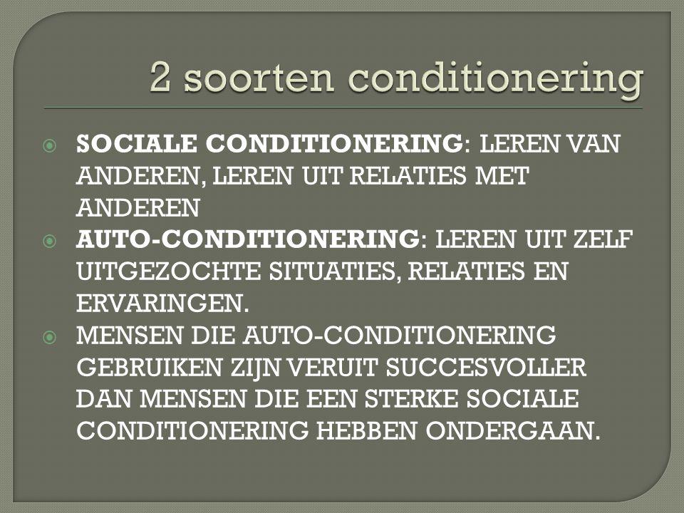  SOCIALE CONDITIONERING: LEREN VAN ANDEREN, LEREN UIT RELATIES MET ANDEREN  AUTO-CONDITIONERING: LEREN UIT ZELF UITGEZOCHTE SITUATIES, RELATIES EN E