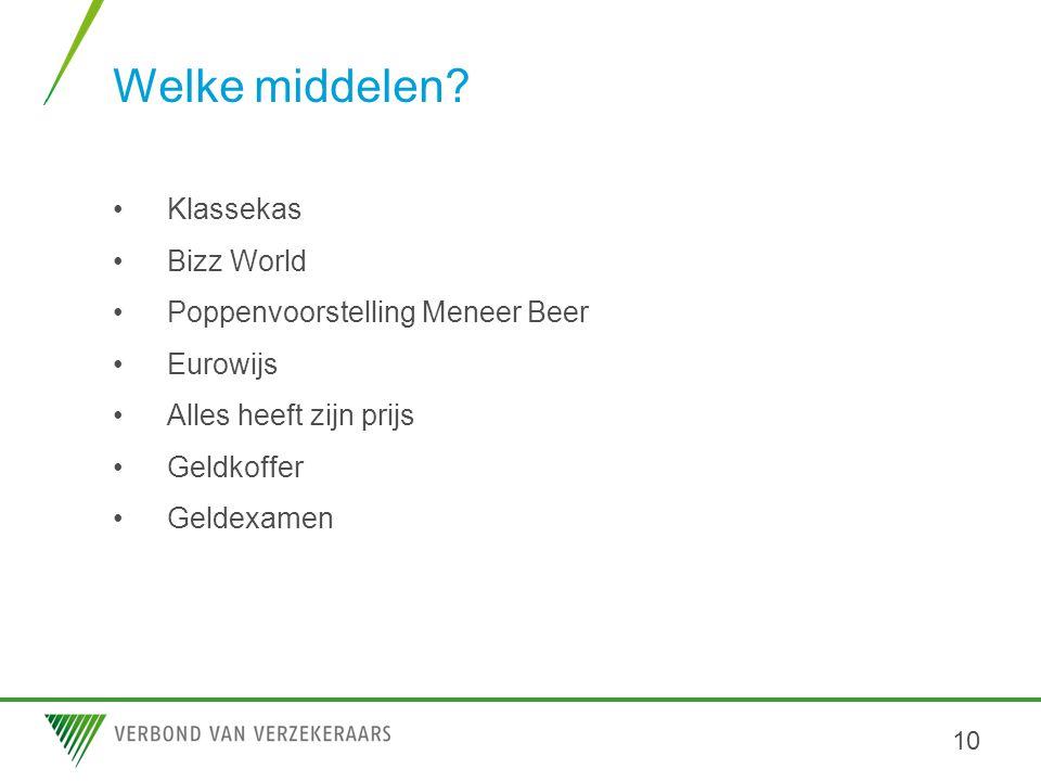 Welke middelen? •Klassekas •Bizz World •Poppenvoorstelling Meneer Beer •Eurowijs •Alles heeft zijn prijs •Geldkoffer •Geldexamen 10
